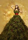 Moda modela choinki suknia, kobiety Xmas toga, nowy rok Obrazy Royalty Free