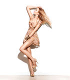 Moda modela dziewczyna ubierał w krótkiej szyfonowej beż sukni Obraz Stock