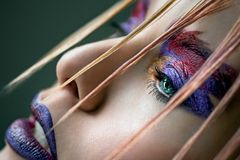 Moda modela dziewczyny purpur i czerwieni kolorowa sztuka uzupełniał Obrazy Stock