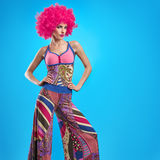 Moda modela kobieta, kolorowy splendoru przyjęcia strój Zdjęcie Stock