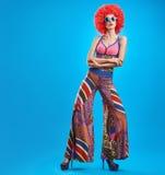 Moda modela kobieta, kolorowy splendoru strój, Makeup Zdjęcie Royalty Free