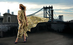 Moda modela pozować seksowny, będący ubranym długą wieczór suknię na dach lokaci Obrazy Royalty Free