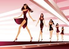 Moda modele na pas startowy royalty ilustracja