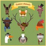 Moda modnisia zwierzęta ustawiają 6 ilustracja wektor