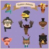 Moda modnisia zwierzęta ustawiają 5 royalty ilustracja