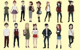 Moda nastolatków ustawiających ludzie ilustracja wektor