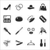 Moda, piękna 16 ikon ogólnoludzki ustawiający dla sieci i wisząca ozdoba, Obraz Stock