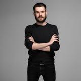 Moda portret młody człowiek w czerni obrazy royalty free