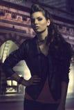 Moda portret rockowa dziewczyna Obrazy Royalty Free