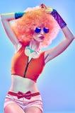 Moda portret seksowna naga piękno kobieta Żywy partyjny spojrzenie Zdjęcia Stock