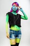 Moda pracowniany portret azjata model w przypadkowych ubraniach Obrazy Royalty Free