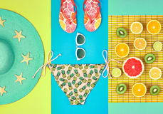 Moda projekt Tropikalny lato set jasny kolor Zdjęcia Royalty Free
