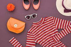 Moda set Odgórny widok Elegancki jesień strój retro Zdjęcie Royalty Free