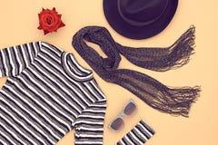 Moda set Odgórny widok Elegancki spadek jesieni pojęcie obraz royalty free
