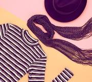 Moda set Odgórny widok Elegancki spadek jesieni strój Obraz Stock