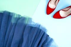 Moda Sistema de la moda de los accesorios de la ropa Gumshoes elegantes femeninos Imagen de archivo libre de regalías