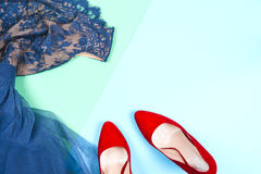 Moda Sistema de la moda de los accesorios de la ropa Gumshoes elegantes femeninos Foto de archivo libre de regalías
