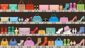 Moda sklep Butik akcesoria, torby i obuwie, royalty ilustracja