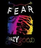Moda sloganu druk Strach jest szalonej dobrej typografii kreatywnie sloganem ilustracji