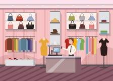 Moda Super rynku Sklepowej kobiety zakupy centrum handlowego Odzieżowy Wewnętrzny sztandar Z kopii przestrzeni kreskówki wektoru  royalty ilustracja