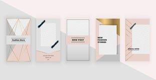 Moda szablony dla Instagram opowieści Nowożytny okładkowy projekt dla ogólnospołecznych środków, ulotki, karta ilustracja wektor
