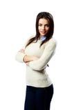 Młoda szczęśliwa bizneswoman pozycja z rękami składać Zdjęcia Stock