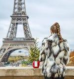 Moda-tratante con el árbol de navidad delante de la torre Eiffel Fotos de archivo