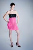 Moda w różowej sukni Zdjęcia Royalty Free