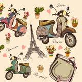 Moda wektoru wzór z ręka rysującym rowerem, Eifel wierza, kwiat ilustracji