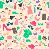 Moda y modelo inconsútil de los accesorios de la ropa ilustración del vector