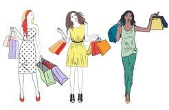 Moda zakupy dziewczyn kobiety set Grupa szczęśliwy przyjaciół robić zakupy ilustracja wektor
