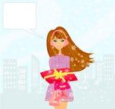 Moda zakupy dziewczyna z torba na zakupy Fotografia Royalty Free