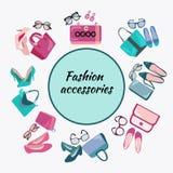 Moda zakupy ramy tło z kobieta butami zdojest i acce ilustracji