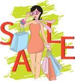 Moda zakupy sprzedaży i dziewczyny słowo Obrazy Stock