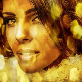 Młoda zmysłowa romantyczna piękno kobieta. Stubarwny wystrzał sztuki styl. Obraz Royalty Free