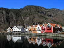 Modalen vilage. Small village between mountains on fjord Stock Photography