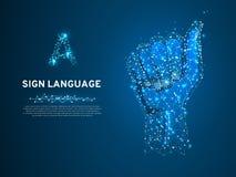 Modalidade tvisual-manual de uma baixa comunicação poli poligonal da letra da linguagem gestual A transportar o vetor de Wirefram ilustração royalty free