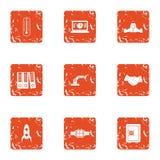 Modality icons set, grunge style. Modality icons set. Grunge set of 9 modality vector icons for web isolated on white background Stock Images
