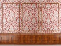 Modanatura rosso di legno e della carta da parati Immagine Stock