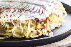 Modanyaki Okonomiyaki Japanses Pizza Royalty Free Stock Photography