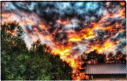 Modded Sunset. Sky on Fire Finland Stock Photography