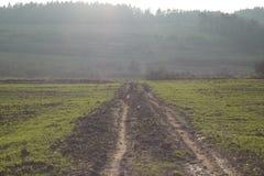 Modderige landweg, Royalty-vrije Stock Foto's