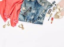 Mode-Accessoires, Kosmetik, Schmuck, Schuhe Heldtitel Lizenzfreie Stockfotografie