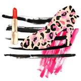 Mode bilden Illustration mit rotem Lippenstift, roten Farbstreifen, rosa Abstrichen der Acrylfarbe und Damenschuhen mit Leopardha vektor abbildung