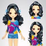 Mode Brunette-Mädchen und Sammlung Frisuren vektor abbildung
