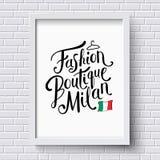 Mode-Butike Milan Concept auf einem Rahmen Lizenzfreie Stockfotografie
