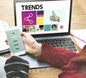 Mode de conception de tendances lançant le concept sur le marché moderne de style photos stock