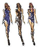 Mode de croquis - femmes dans le style attrayant Image stock