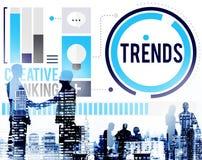 Mode de tendances lançant le concept sur le marché tendant contemporain Image stock