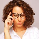 Mode de vie, affaires et concept de personnes : femme d'affaires en verre Image stock